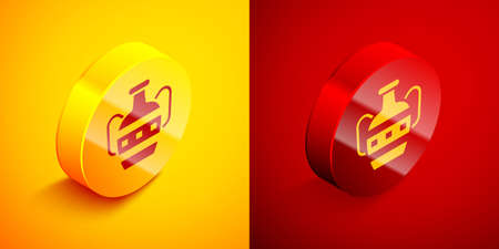 Isometric Ancient amphorae icon isolated on orange and red background. Circle button. Vector