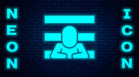 Glowing neon Prisoner icon isolated on brick wall background. Vector