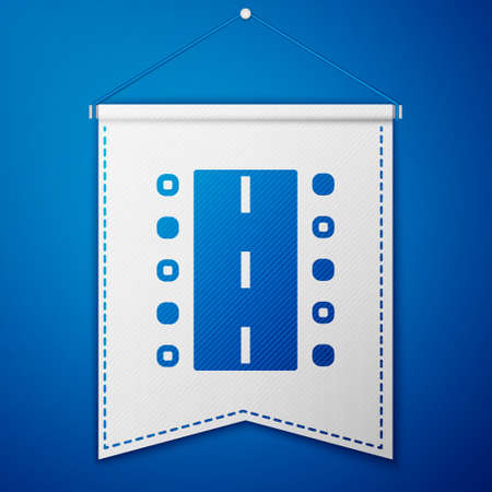 Blue Airport runway for taking off and landing aircrafts icon isolated on blue background. White pennant template. Vector