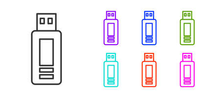 Black line USB flash drive icon isolated on white background. Set icons colorful. Vector