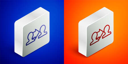 Isometric line Project team base icon isolated on blue and orange background. Business analysis and planning, consulting, team work, project management. Silver square button. Vector