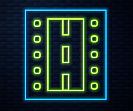 Glowing neon line Airport runway for taking off and landing aircrafts icon isolated on brick wall background. Vector