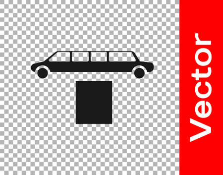 Black Luxury limousine car and carpet icon isolated on transparent background. For world celebrities and guests poster. Vector Illustration
