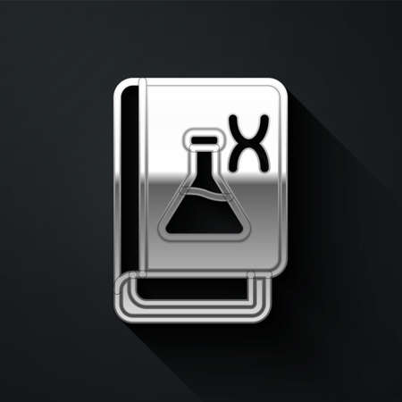 Silver Genetic engineering book icon isolated on black background. DNA symbol. Long shadow style. Vector