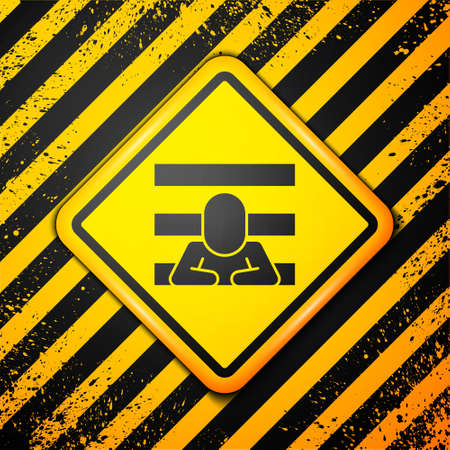 Black Prisoner icon isolated on yellow background. Warning sign. Vector
