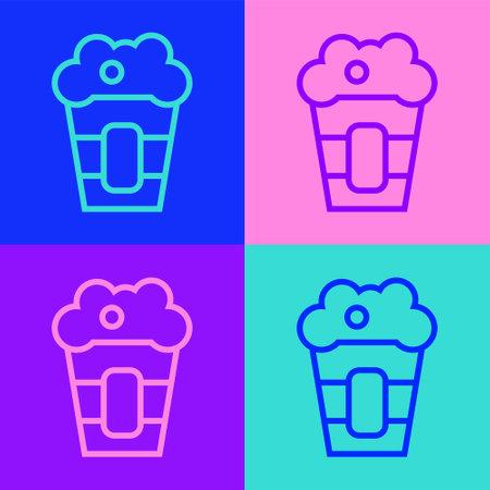 Pop art line Popcorn in cardboard box icon isolated on color background. Popcorn bucket box. Vector