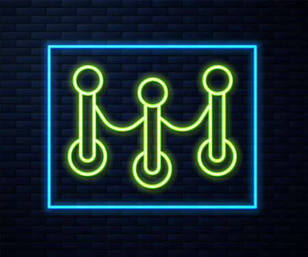 Glowing neon line Rope barrier icon isolated on brick wall background. VIP event, luxury celebration. Celebrity party entrance. Vector