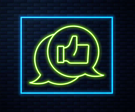 Glowing neon line Consumer or customer product rating icon isolated on brick wall background. Vector Vektoros illusztráció