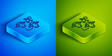 Isometric line Cloning icon isolated on blue and green background. Genetic engineering concept. Square button. Vector Иллюстрация