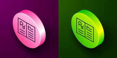 Isometric line Medical clipboard with clinical record icon isolated on purple and green background. Health insurance form. Prescription, medical check marks report. Circle button. Vector