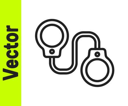 Black line Handcuffs icon isolated on white background. Vector