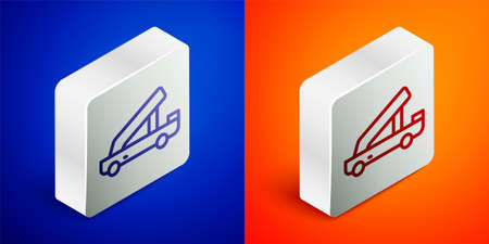 Isometric line Passenger ladder for plane boarding icon isolated on blue and orange background. Airport stair travel. Silver square button. Vector 向量圖像
