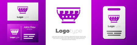 Logotype Greek ancient bowl icon isolated on white background. Antique amphora with patterns collection. Ancient Greece bowl.