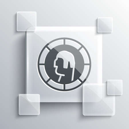 Grey Ancient Greek coin icon isolated on grey background. Square glass panels. Vector