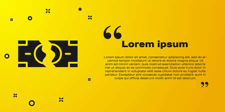 Black Tearing apart money banknote into two peaces icon isolated on yellow background. Vector