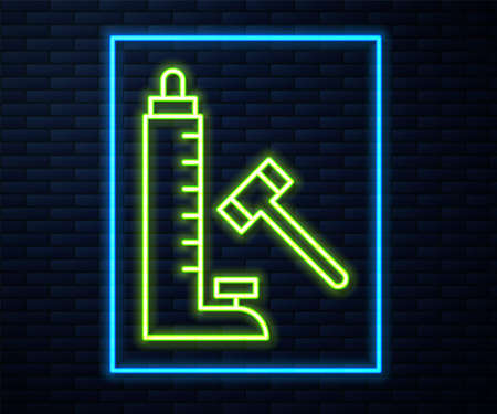Glowing neon line High striker attraction with big hammer icon isolated on brick wall background. Attraction for measuring strength. Amusement park. Vector