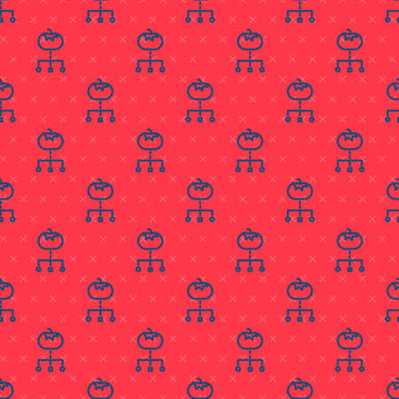 Blue line Genetically modified food icon isolated seamless pattern on red background. GMO fruit. Vector