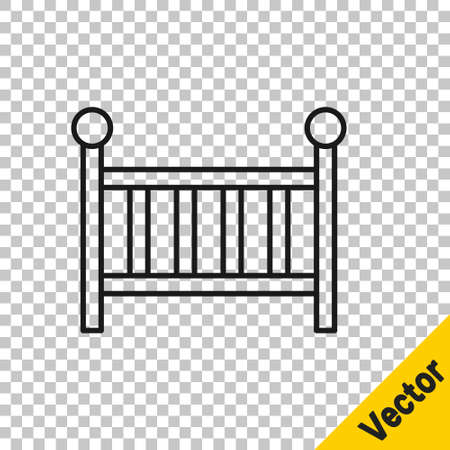 Black line Baby crib cradle bed icon isolated on transparent background. Vector Vektoros illusztráció