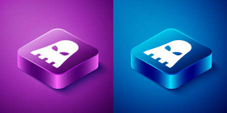 Isometric Executioner mask icon isolated on blue and purple background. Hangman, torturer, executor, tormentor, butcher, headsman icon. Square button. Vector