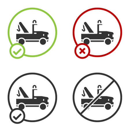 Black Tow truck icon isolated on white background. Circle button. Vector