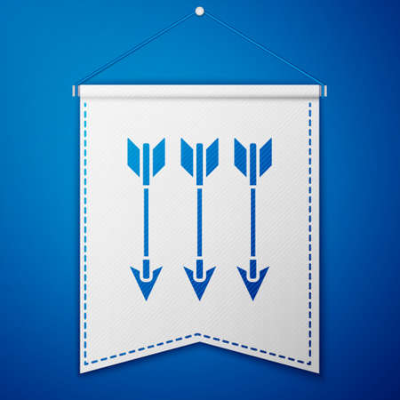 Crossed arrows icon isolated on blue background. White pennant template. Vector