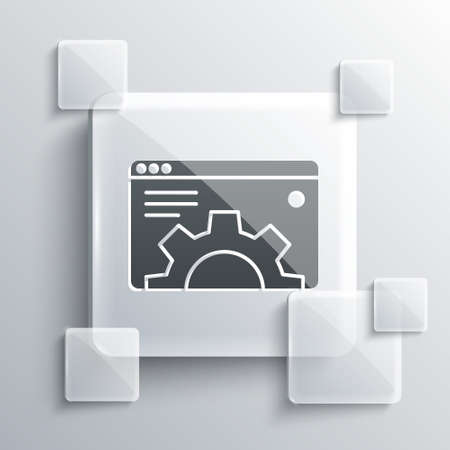 Grey Browser setting icon isolated on grey background. Adjusting, service, maintenance, repair, fixing. Square glass panels. Vector Ilustración de vector