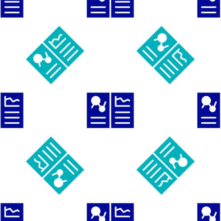 Blue Medical clipboard with clinical record icon isolated seamless pattern on white background. Health insurance form. Prescription, medical check marks report. Vector