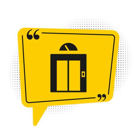 Black Lift icon isolated on white background. Elevator symbol. Yellow speech bubble symbol. Vector