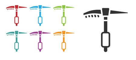 Black Ice axe icon isolated on white background. Montain climbing equipment. Set icons colorful. Vector