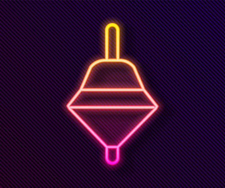 Glowing neon line Whirligig toy icon isolated on black background. Vector