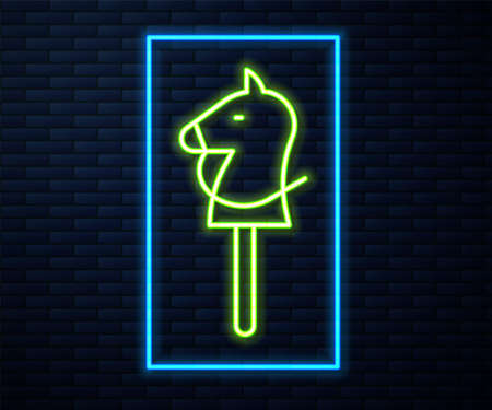Glowing neon line Toy horse icon isolated on brick wall background. Vector