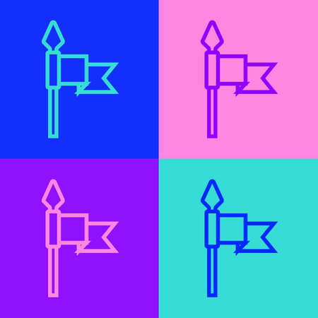 Pop art line Medieval spear icon isolated on color background. Medieval weapon. Vector