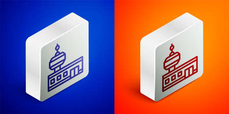 Isometric line Airport control tower icon isolated on blue and orange background. Silver square button. Vector