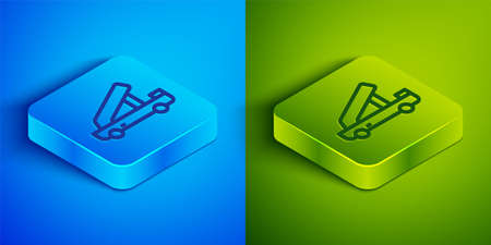 Isometric line Passenger ladder for plane boarding icon isolated on blue and green background. Airport stair travel. Square button. Vector