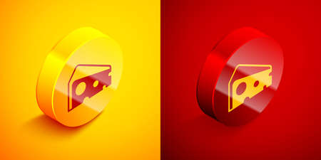 Isometric Cheese icon isolated on orange and red background. Circle button. Vector