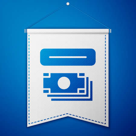 Blue ATM - Automated teller machine and money icon isolated on blue background. White pennant template. Vector Ilustração