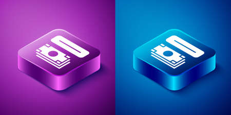 Isometric ATM - Automated teller machine and money icon isolated on blue and purple background. Square button. Vector Ilustração