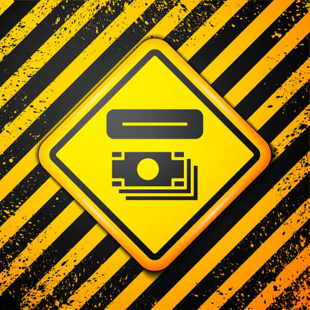 Black ATM - Automated teller machine and money icon isolated on yellow background. Warning sign. Vector