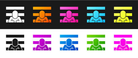 Set Prisoner icon isolated on black and white background. Vector
