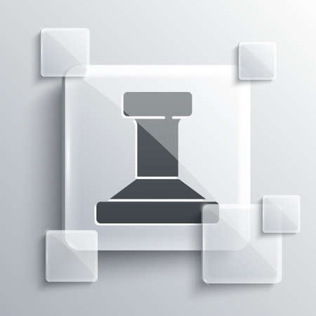 Grey Stamp icon isolated on grey background. Square glass panels. Vector.