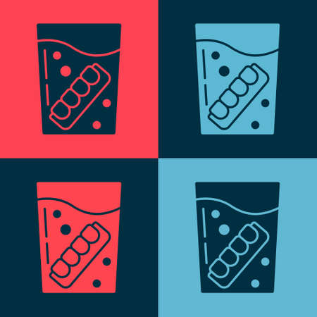 Pop art False jaw in glass icon isolated on color background. Dental jaw or dentures, false teeth with incisors. Vector