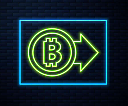 Glowing neon line Cryptocurrency coin Bitcoin icon isolated on brick wall background. Physical bit coin. Blockchain based secure crypto currency. Vector.