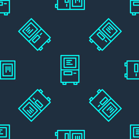 Green line ATM - Automated teller machine icon isolated seamless pattern on blue background. Vector
