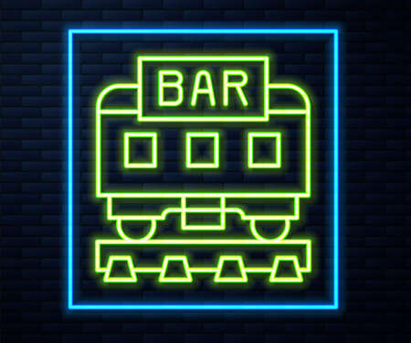 Glowing neon line Restaurant train icon isolated on brick wall background. Vector