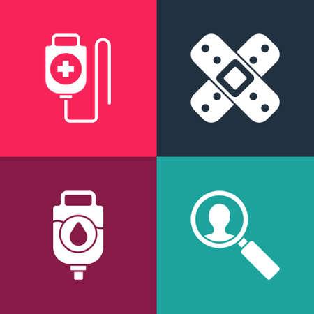 Set pop art Medical analysis, IV bag, Crossed bandage plaster and icon. Vector