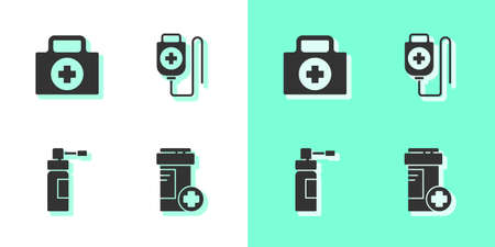 Set Medicine bottle, First aid kit, Bottle with nozzle spray and IV bag icon. Vector