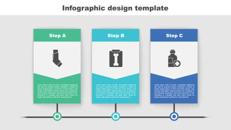 Set Inhaler, X-ray shots and Bottle of medicine syrup. Business infographic template. Vector