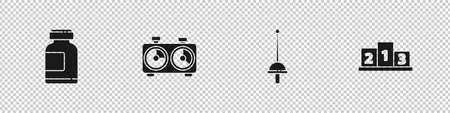 Set Sports nutrition, Time chess clock, Fencing and Award over sports winner podium icon. Vector