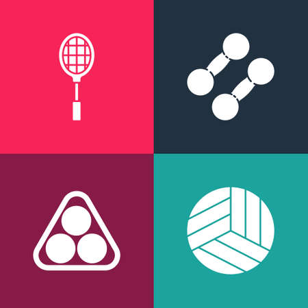 Set pop art Volleyball ball, Billiard balls in rack triangle, Dumbbell and Tennis racket icon. Vector Illusztráció