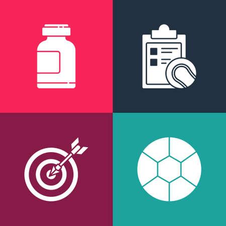 Set pop art Football ball, Target with arrow, Checklist clipboard and tennis and Sports nutrition icon. Vector Illusztráció